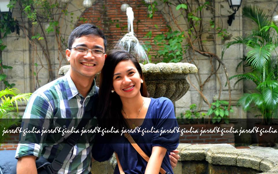 Filipino couple pre-nup picture with fountain on background