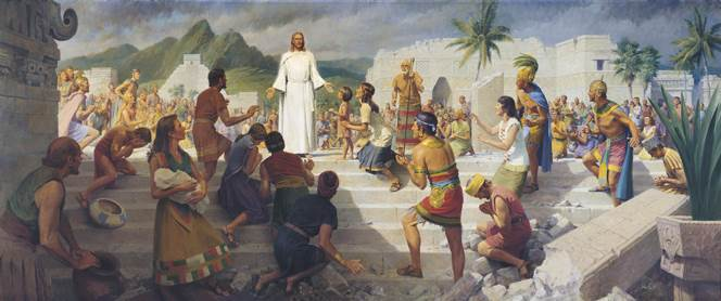 Christ visiting the Nephites in the Book of Mormon
