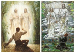 Artistic depictions of Joseph Smith's first vision seeing God the Father and Jesus Christ