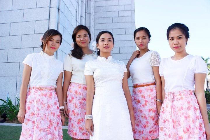 Sisters pose with an LDS Filipino married friend
