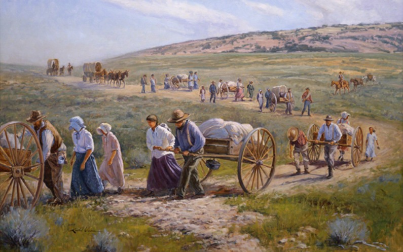 Mormon pioneers are on their journey to Salt Lake Valley
