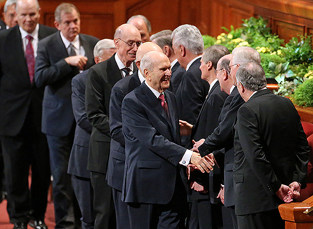 LDS Church President Russell M. Nelson leaves the morning session of the 188th Annual General Conference of The Church of Jesus Christ of Latter-day Saints at the Conference Center in Salt Lake City on Sunday, April 1, 2018.