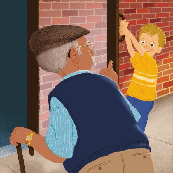 boy holding door for elderly