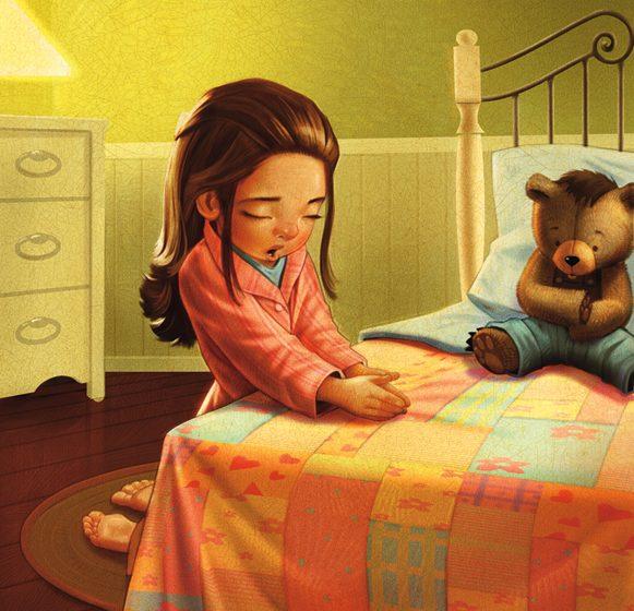 a girl in bed kneeling in prayer