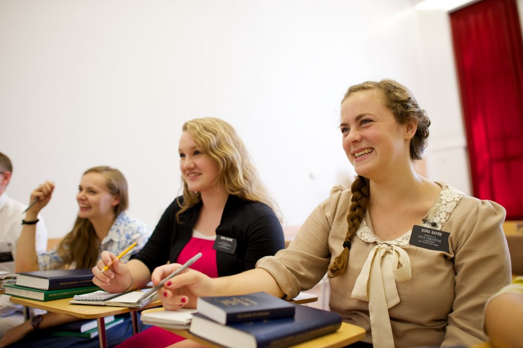 Mormon Sister Missionaries in Class Setting