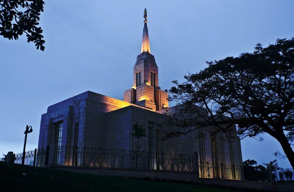 cebu Philippines temple at night with lights on