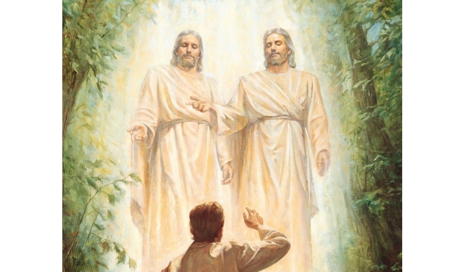 The First Vision with Heavenly Father and Jesus Christ appearing to Joseph Smith.